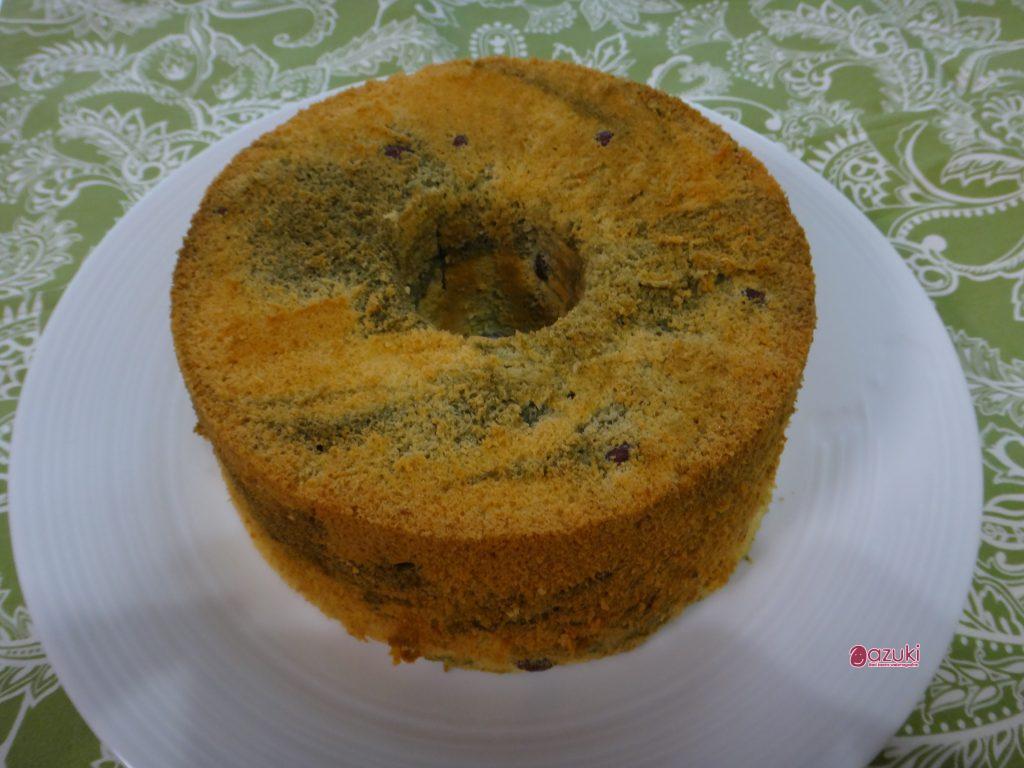 小豆とよもぎの和風シフォンケーキできました