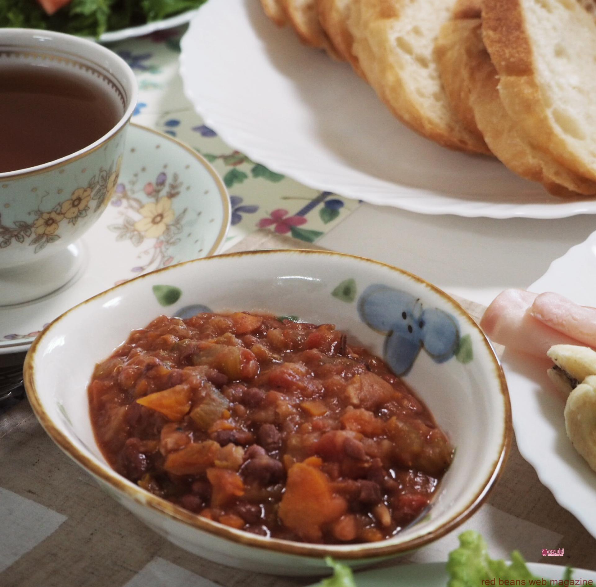 ヴィーガンのお客様にもそうでないお客様にも喜ばれる、小豆ミネストローネ風(ホットクック編)