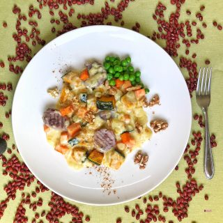 小豆のニョッキ かぼちゃと人参のソース