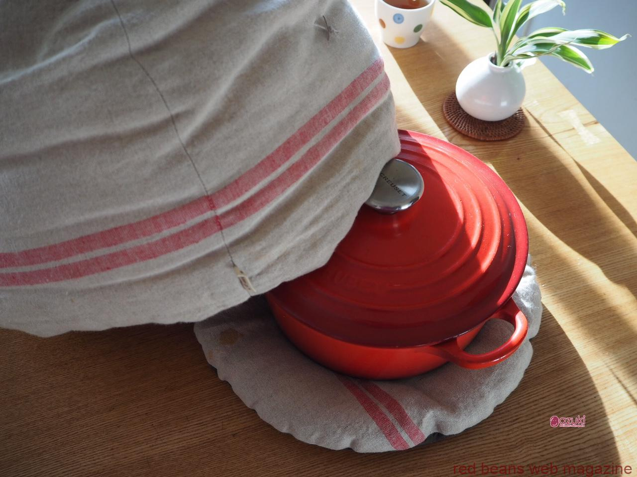 鍋帽子でゆであずきはエコだし、おいしい